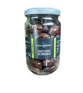 Country black olives in brine Tanche variety 210 gr